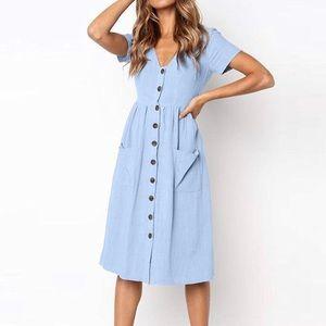 Lightweight Blue Button Up Midi Dress